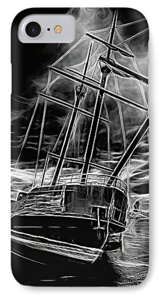 La Grande Hermine 2 - St. Elmo's Fire Bw IPhone Case by Steve Harrington