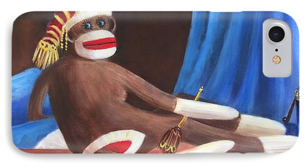 IPhone Case featuring the painting La Grande Sock Monkey by Randol Burns