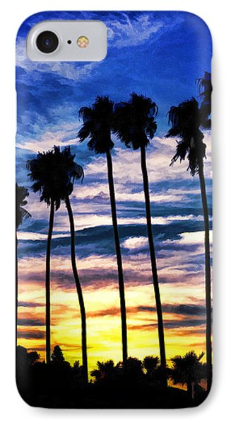 La Jolla Silhouette - Digital Painting IPhone Case by Sharon Soberon