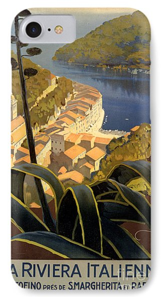La Riviera Italienne Vintage Travel Poster Restored IPhone Case