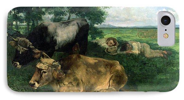 La Siesta Pendant La Saison Des Foins IPhone Case by Gustave Courbet