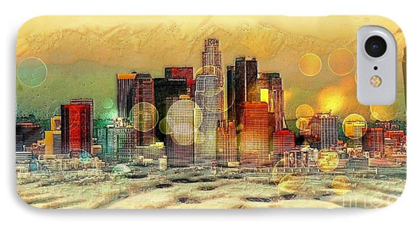 IPhone Case featuring the digital art Los Angeles Skyline By Nico Bielow by Nico Bielow