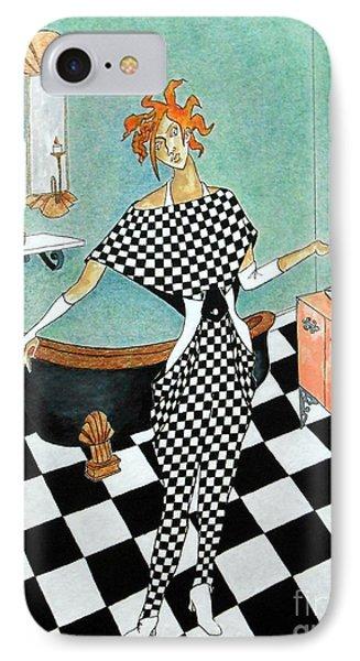 La Toilette -- Woman In Whimsical Art Deco Bathroom IPhone Case