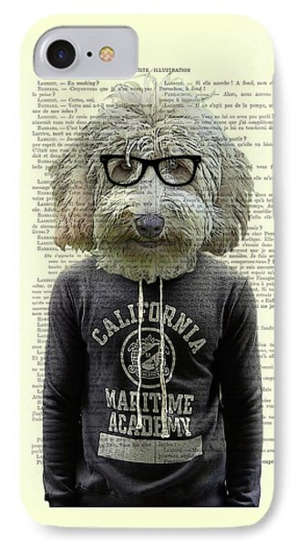 Labradoodle Dog Portrait Art IPhone Case by Madame Memento