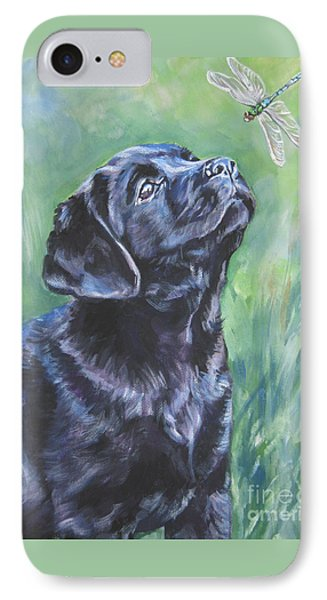 Labrador Retriever Pup And Dragonfly Phone Case by Lee Ann Shepard