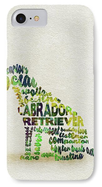 IPhone Case featuring the painting Labrador Retriever Watercolor Painting / Typographic Art by Ayse and Deniz