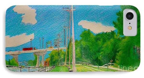 Lachine Canal Pencil Crayon IPhone Case by Contemporary Luxury Fine Art