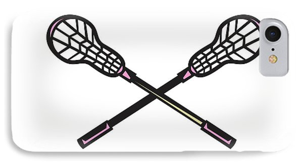 Lacrosse Stick Woodcut IPhone Case