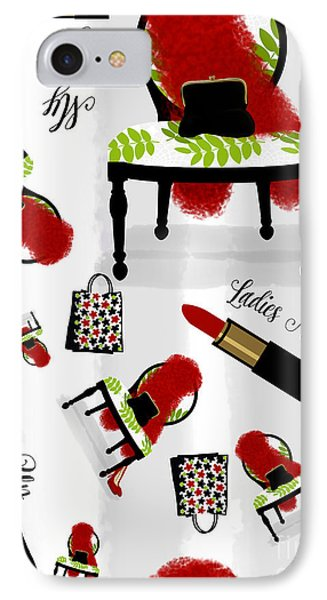 Ladies Night Out Fashion Pattern, Feather Boa, Lipstick, Shopping IPhone Case