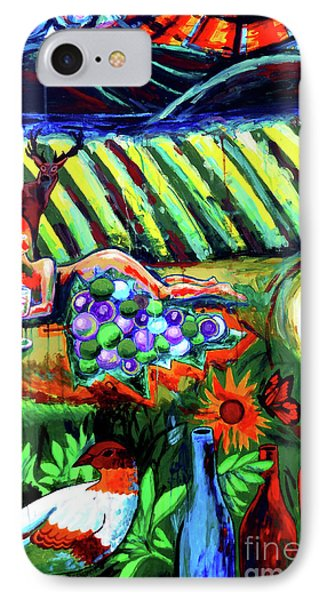 IPhone Case featuring the painting Lady And The Grapes by Genevieve Esson