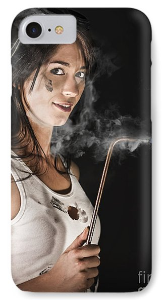 Lady Boilermaker At Work IPhone Case by Jorgo Photography - Wall Art Gallery