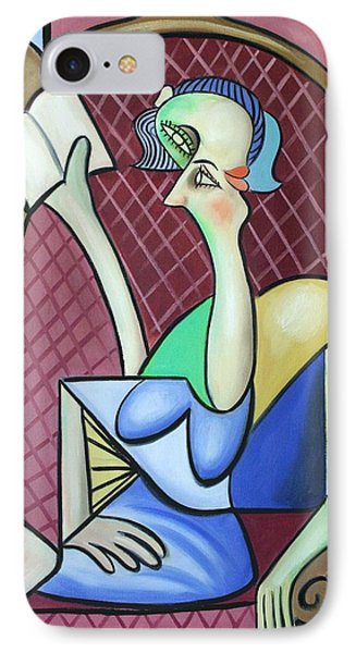Lady In A Winged Back Chair Phone Case by Anthony Falbo