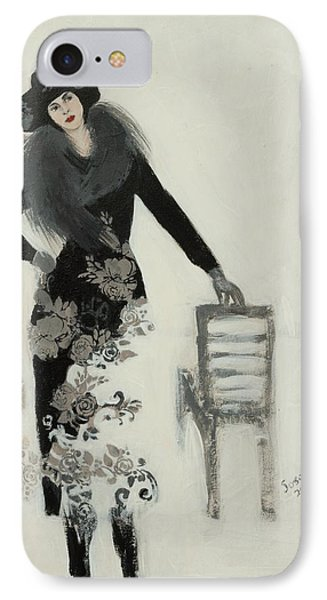 Lady In Black With Flowers IPhone Case by Susan Adams