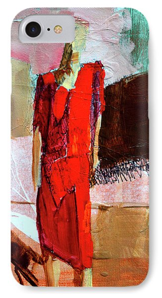IPhone Case featuring the painting Lady In Red by Nancy Merkle