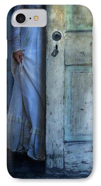 Lady In Vintage Clothing Hiding Behind Old Door Phone Case by Jill Battaglia