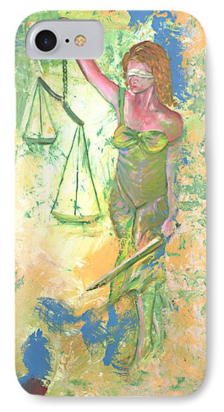 Lady Justice And The Man Phone Case by Peter Bonk