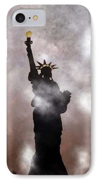 IPhone Case featuring the photograph Lady Liberty In Fog by Joseph Frank Baraba