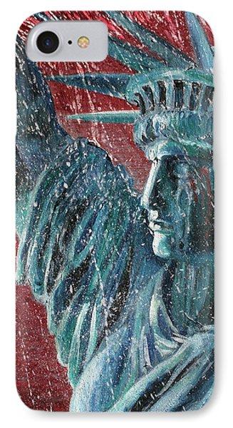 Lady Liberty In The Rain Phone Case by Alan Schwartz