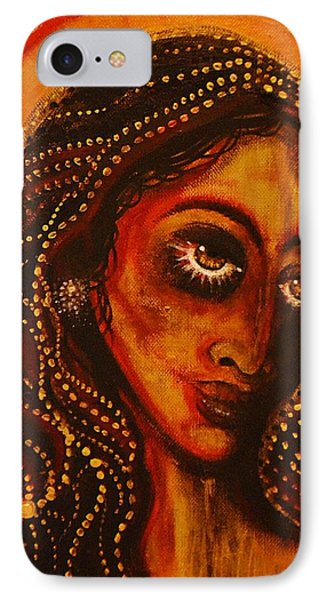 IPhone Case featuring the painting Lady Of Gold by Sandro Ramani