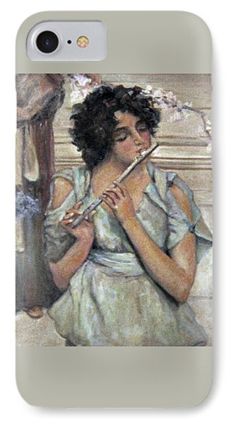 Lady Playing Flute IPhone Case by Donna Tucker