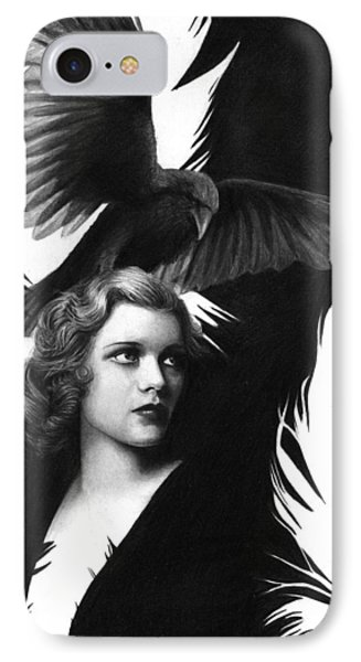 Lady Raven Surreal Pencil Drawing IPhone Case by Thubakabra