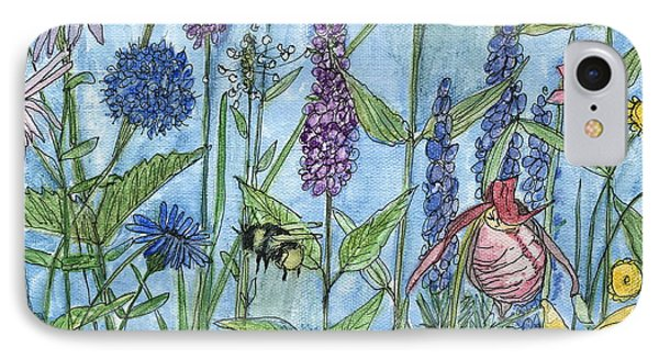 IPhone Case featuring the painting Lady Slipper In My Garden  by Laurie Rohner