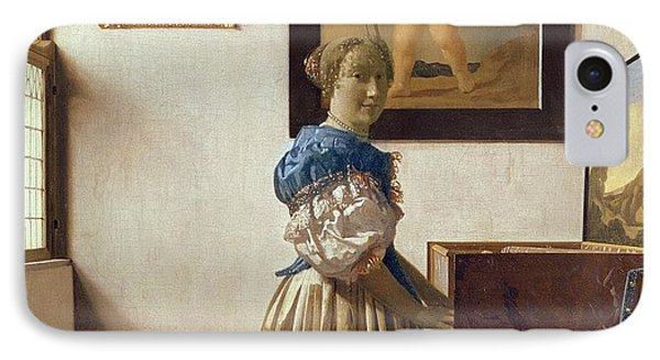 Lady Standing At The Virginal IPhone Case by Jan Vermeer