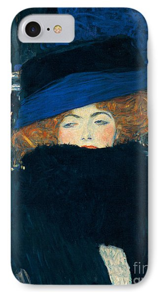 Boa Constrictor iPhone 7 Case - Lady With A Hat And A Feather Boa by Gustav Klimt