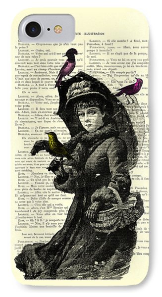 Lady With Umbrella In Winter Landscape Print On Old Book Page IPhone Case