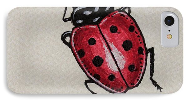 IPhone Case featuring the painting Ladybug Crawling  by Elizabeth Robinette Tyndall