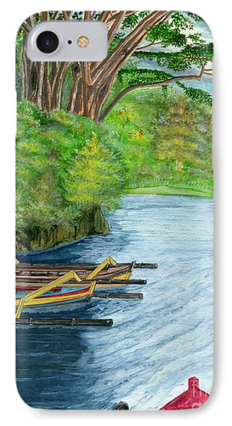 IPhone Case featuring the painting Lake Bratan Boats Bali Indonesia by Melly Terpening