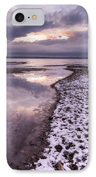 Lake Champlain-winter-sunset-stormy Clouds IPhone Case by Andy Gimino