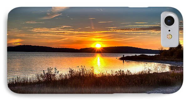 Lake Charlevoix Sunset IPhone Case by Larry Carr