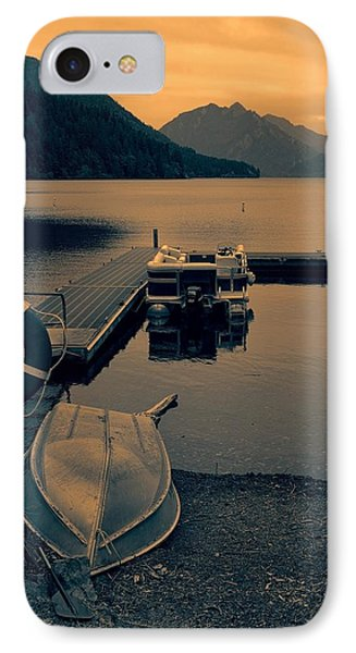 Lake Crescent Boats At Sunset IPhone Case by Dan Sproul