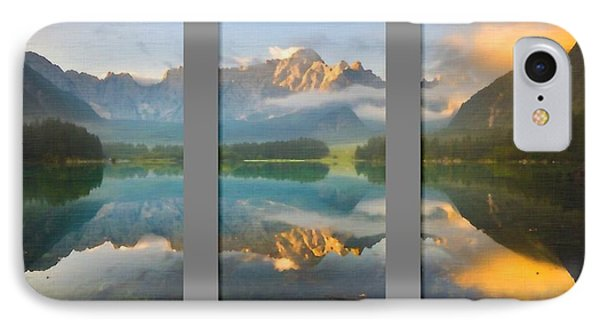 Lake Fusine In Triptych IPhone Case by Mario Carini