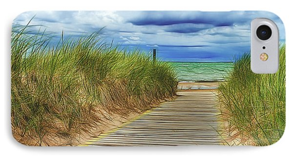 Lake Huron Boardwalk IPhone Case by Bill Gallagher