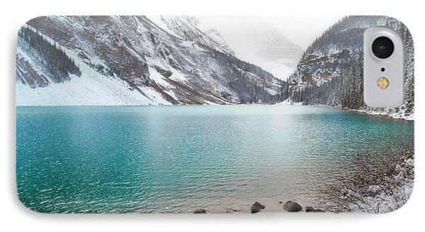 Lake Louise Mountain Snow Forest Landscape IPhone Case by Andrea Hazel Ihlefeld