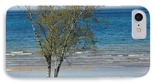 IPhone Case featuring the photograph Lake Michigan Birch Tree Bench by LeeAnn McLaneGoetz McLaneGoetzStudioLLCcom