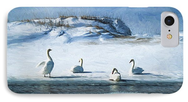 Lake Michigan Swans Phone Case by Dennis Cox