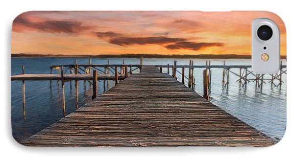 Lake Murray Lodge Pier At Sunrise Landscape IPhone Case by Tamyra Ayles