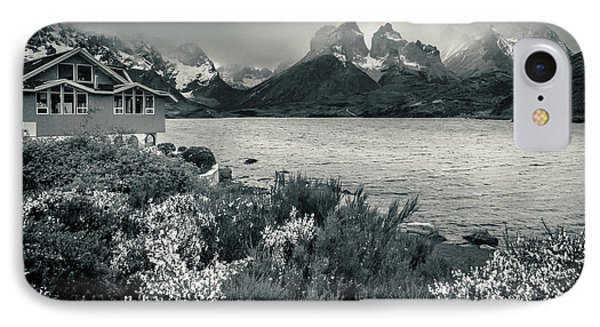 IPhone Case featuring the photograph Lake Pehoe In Black And White by Andrew Matwijec