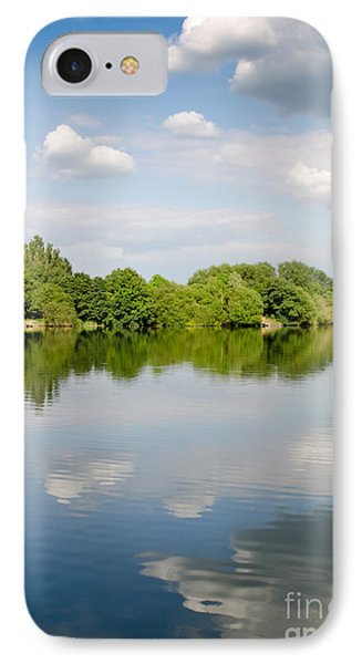 Lake Reflection Dinton Pastures Lakes And Nature Reserve Reading Berkshire Uk Phone Case by Andy Smy