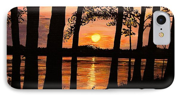 IPhone Case featuring the painting Lake Sunset by Patricia L Davidson
