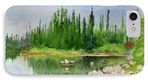 IPhone Case featuring the painting Lake View 1-2 by Yoshiko Mishina