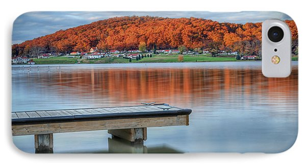 IPhone Case featuring the photograph Autumn Red At Lake White by Jaki Miller