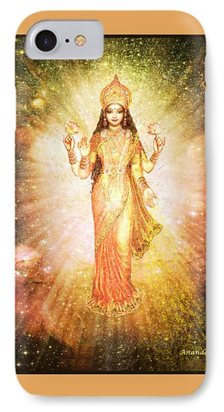 Lakshmi In A Galaxy, Radiating Pink Light Phone Case by Ananda Vdovic