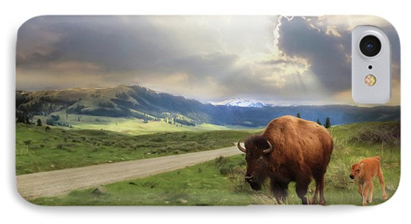 Lamar Valley Bison IPhone Case by Lori Deiter