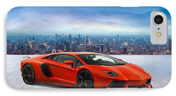 Lambo Cityscape IPhone Case by Peter Chilelli