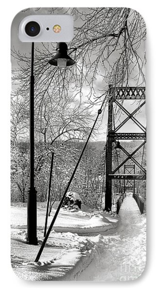 Lamppost And Androscoggin Swinging Bridge In Winter IPhone Case by Olivier Le Queinec