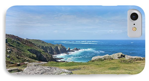 Land's End And Longships Lighthouse Cornwall Phone Case by Terri Waters